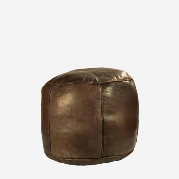 Puf – Brunt læder – 35 cm høj