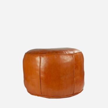 Læderpuf – Orange – 30 cm høj