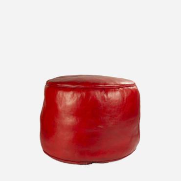 Puf – Rødt læder – 35 cm høj