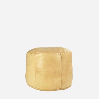 Læderpuf – Beige – 35 cm høj