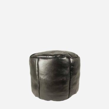 Læderpuf – Sort – 35 cm høj
