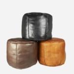 Læderpuf – Cognac – 35 cm høj